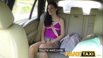 Fake Taxi Brunette Screams on Big Cock